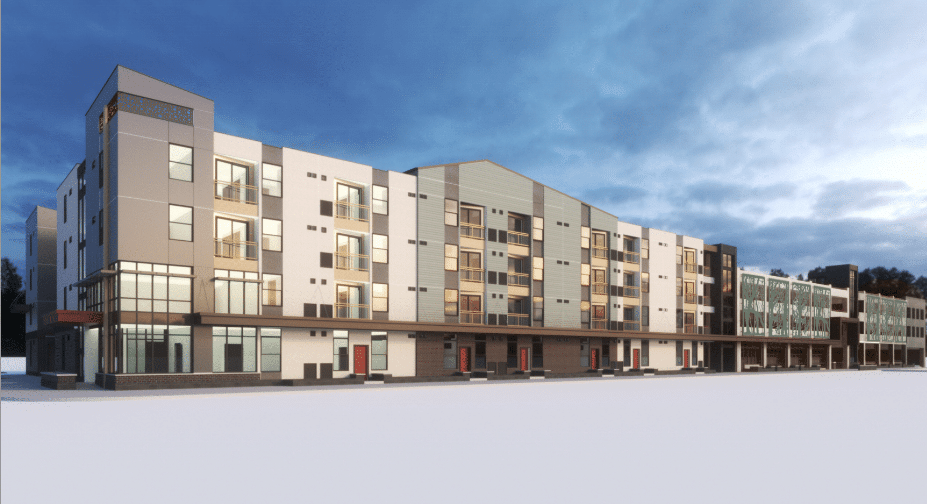 Rendering of The Spoke on Coffman affordable housing development in Longmont, Colo.